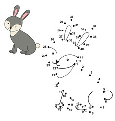 connect dots to draw cute rabbit and color vector image