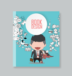 Cover report happy face businessman hello vector