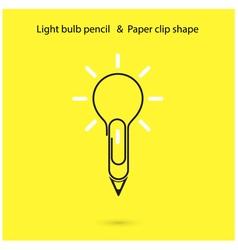Creative light bulb pencil logo design vector