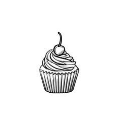 cupcake hand drawn sketch icon vector image