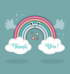 Cute abstract thank you rainbow and clouds vector