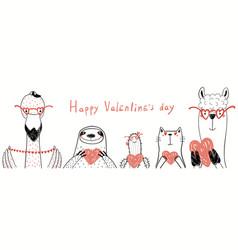 Cute animals valentine card vector