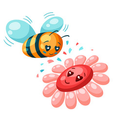 cute bee and flower in love valentine day vector image