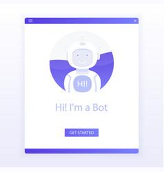 cute smiling robotchat bot say hi vector image