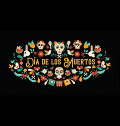 day dead spanish language greeting card vector image