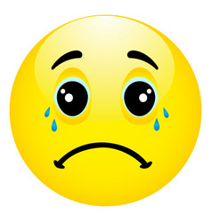 depressed and sad emoticon with hands on face vector image