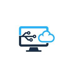 digital computer logo icon design vector image