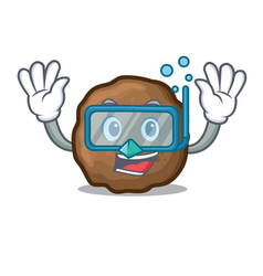 Diving meatball character cartoon style vector