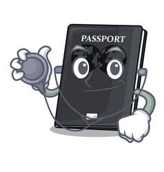 Doctor black passport in a cartoon bag vector