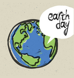 earth day poster on recycled paper texture vector image