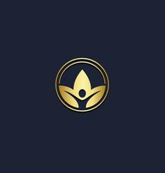 eco leaf wellness beauty logo vector image