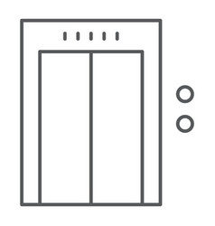 Elevator thin line icon hotel and level lift vector