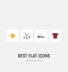 Flat icon clothes set of foot textile banyan t vector