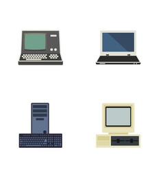 Flat icon computer set of processor notebook vector
