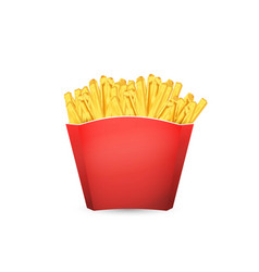 french fries potato in red bucket of fast food vector image