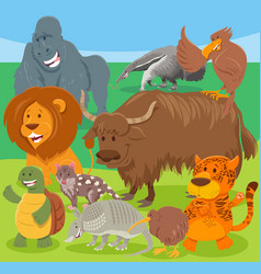 Funny cartoon wild animal characters group vector