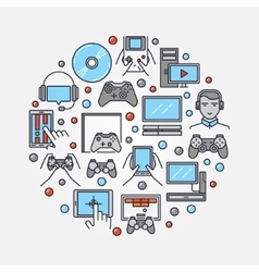 Gamers round flat vector