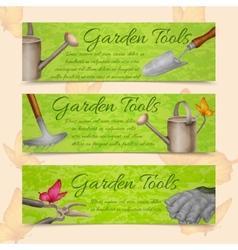 Garden tools horizontal banners vector
