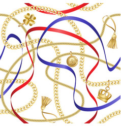 Golden chains seamless pattern on white background vector