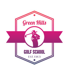 Golf school logo emblem with golfer swinging club vector