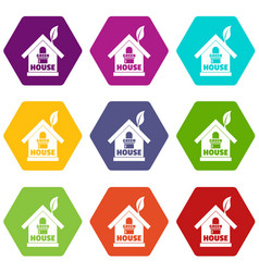 green house icons set 9 vector image