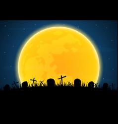 Halloween graveyard cross grave vector