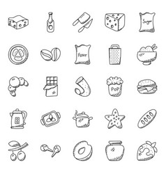 Hand drawn doodles of food icons vector