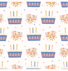 Hand drawn lit candles on birthday cake vector