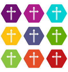 holy cross icon set color hexahedron vector image