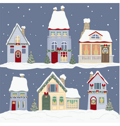 houses decorated for christmas winter holidays vector image