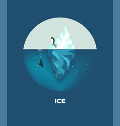 Iceberg with penguins round logotype on blue vector