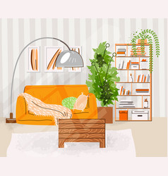 interior living room flat vector image