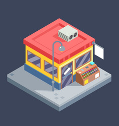 Isometric shop business sell goods offer sale vector