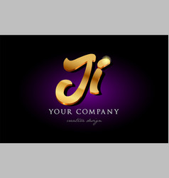Ji j i 3d gold golden alphabet letter metal logo vector