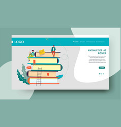 Knowledge power web page template books pile vector