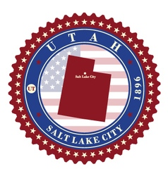 Label sticker cards state utah usa vector