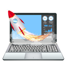 Laptop with speed acceleration boost toy rocket vector