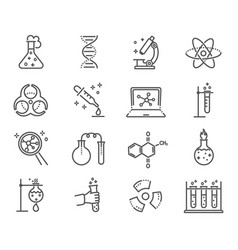 large set black and white laboratory icons vector image