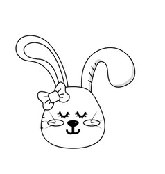Line teddy rabbit girl head animal wild vector