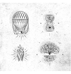 magic and mystic signs tree life green vector image