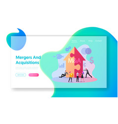 Merger and acquisition landing page template vector