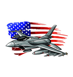 Military fighter jets isolated on background vector