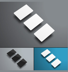 Mockup of three gift or bank cards hovering over vector