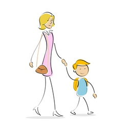 mother and son vector image