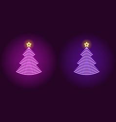 neon christmas tree glowing xmas tree vector image