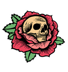 Old school rose tattoo with skull vector