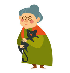 Old woman cuddling cat pensioner lady happy with vector