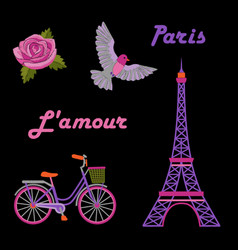 paris embroidery set vector image