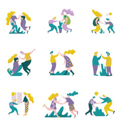 people giving high five to each other set male vector image