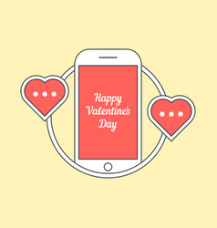Phone with hearts like messaging vector